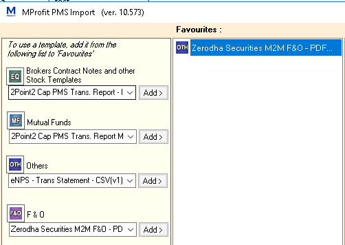 MProfit import support for Zerodha Daily CNs to tally broker